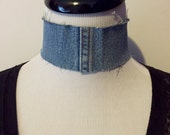 Choker Necklace Upcycled Reclaimed Denim Blue Jean