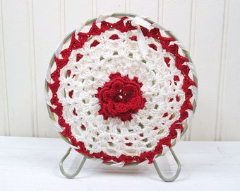 Vintage Napkin Holder Letter Bill Organizer Crocheted Handmade Red & White