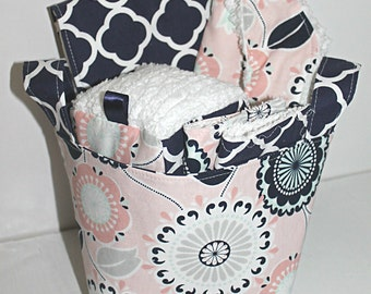 Coral and Navy Baby Gift Basket--- Baby Shower, New Mom, Nursery Decor, Organization