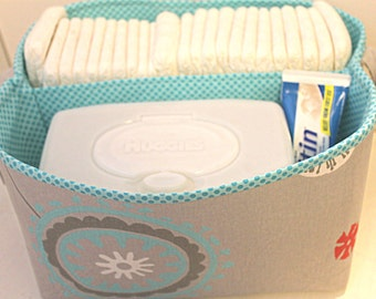 "Diaper Caddy 10""X11""X6"" - Harmony- Fabric Storage Bin- Organizer- PERSONALIZE it--- REaDY TO SHiP"