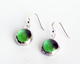 Green Earrings - Stained Glass Earrings - Glass Earrings