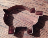 Vintage Copper Pig Shaped Cookie Cutter