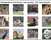 RESERVED for Kathy R... 2016 / 2017 - Zoo Animals - Jewel Case Desk Calendar