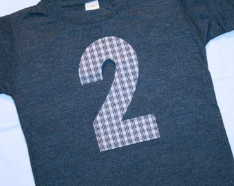Boys Second Birthday Number 2 Shirt - short sleeve heather navy shirt with number 2 in navy and tan plaid