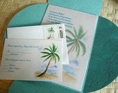 Chic Palm Tree Beach Tropical Wedding Invitations for destination wedding, mexico wedding, Caribbean wedding, hawaii wedding