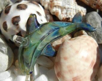 Lampwork Boro Glass Pendant - Focal Bead - DOLPHIN green purple