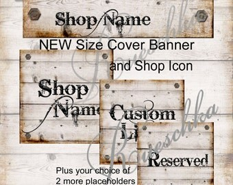 Rustic Cowboy Rivets and Aged Wood Etsy Shop Icons Cover Banner Set