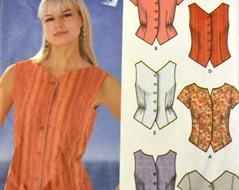 Sewing Pattern Simplicity 555 Misses' Tops size 8-14, bust 30-36 inches