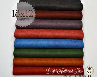 Bright Heathered Hues, Wool Blend Felt, Wool Felt Sheets, Wool Felt Fabric, Felt Fabric Bundle, Wool Felt Bundles, Felt Collections
