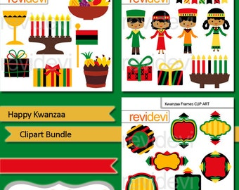 Kwanzaa clipart bundle commercial use / Kwanzaa holiday clip art / digital images