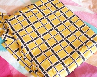Vintage 1940s Cotton Quilting Fabric...Bold Yellow & Black Geometric