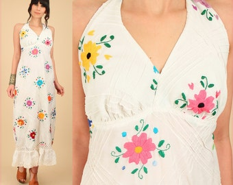 ViNtAgE 60's 70's Floral Mexican Embroidered Maxi Dress // Cotton Handmade Artisan Hippie BoHo Floral Wedding Summer Large L