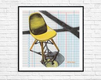 Eames Chair Print - Eames Chair - Midcentury Modern - Art Print - Wall Art - Midcentury Design - Chair Art - 8x8 - Midcentury Art