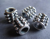 Sterling Silver plated slider beads - 2 - dotted oxidized tube beads - large holed