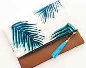 Boho Tassel Clutch in Palm Leaf Fabric with Tan Faux Leather and Tassel
