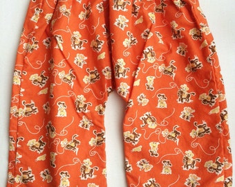 SALE! Lightweight Cotton Baby Pants  - Orange Vintage Cowboy 3-6 months