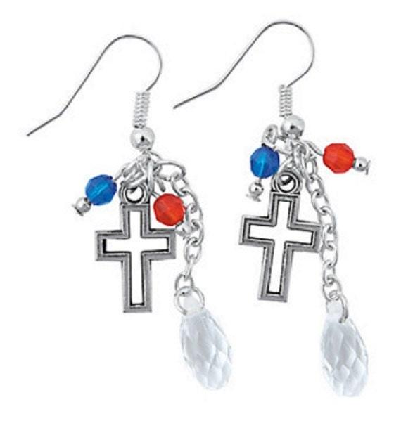 Patriotic Cross Earrings