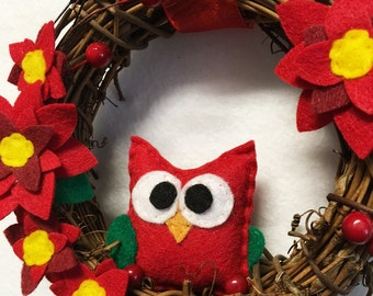 Owl Wreath, Christmas Wreath, Winter Wreath, Pretty Poinsettia, Red Flowers, Mini Wreath, Felt Animal, Gifts under 50