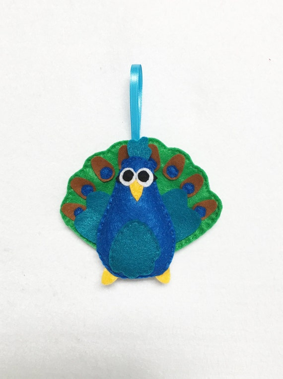 Peacock Ornament, Christmas Ornament, Percy the Peacock, Christmas Decoration, Felt Ornament, Felt Animal