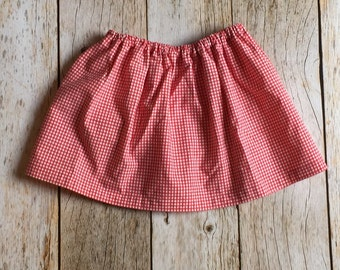 Red and white gingham skirt in toddler size 2t-3t