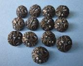 Antique Brass and Steel Cut Buttons lot of 13 Art Nouveau Buttons