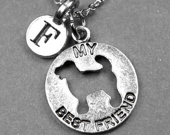 My best friend Dog Necklace, Best friend dog charm, Dog silhouette charm, dog necklace, personalized charm, initial charm, monogram, letter