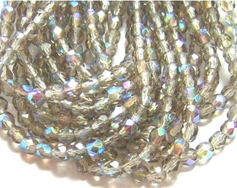 Last 50 Faceted Czech Glass Beads Gorgeous SMOKEY GRAY AB 4mm
