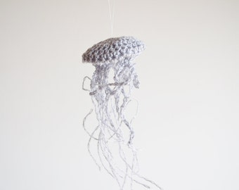 Handmade Linen Jellyfish Home Decor Ornament in Grey - Beach Boho Cottage Chic Sea Creatures, Small