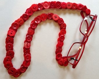 Eyeglass Chain in Vintage Buttons - Shades of Red