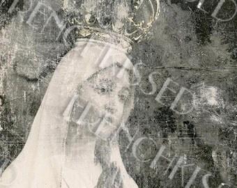 Madonna with Crown Fatima Antique European Postcard Digital Download Christmas Card Idea