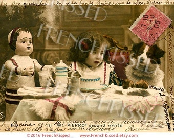 Edwardian Tea Party Girl with Dog and Doll Antique French Postcard Digital Scan Collage