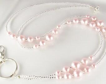 Pink Pearls Beaded Lanyard SIMPLICITY Lanyard ID Badge Holder Breakaway Lanyard Magnetic