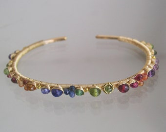 Deep Rainbow Gemstone Cuff, Gold Filled Wire Wrapped Bracelet, Stackable, Sapphire, Tanzanite, Red Spinel, Original Design, Signature