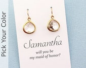 Bridesmaid Earrings | Maid of Honor Jewelry | Clear Crystal Earrings | Personalized Jewelry Gift | Pick Your Color | Silver or Gold  | BN01