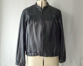 1980's Moto Jacket Leather Look Womens Pleather Slate Grey Medium Large