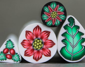 """Set of 4 Polymer Clay Holiday Canes -""""Holly Jolly"""" (VV)"""