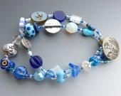 Cobalt, Aqua and Crystal Double Row Bracelet