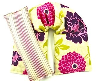 Natural Healing: Neck Wrap Eye Pillow Hot/Cold Therapy Organic, Meditation,Reusable Heat Pack Purple Floral Gift Guide