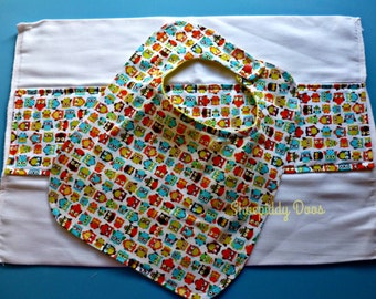 OWLS - Bib and Burp Cloth Set - Baby Shower Gift