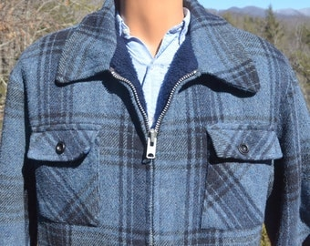 vintage 60s wool jacket PLAID blue mackinaw fleece lining lumberjack weatherguard Medium Large