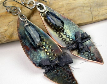 Tribal Copper Earrings, Blue Kyanite and Copper, Stamped and Hammered, Long Dangle, Asymmetrical, Mixed Metal, Flame Patina, Spears- Serowe