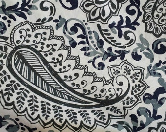 Window Valance/Curtain Valance/Window Topper/Kitchen/Bedroom/Bath/Straight/Curved-LINED-Valance, Indigo Paisley Fabric/Blue/White/Navy