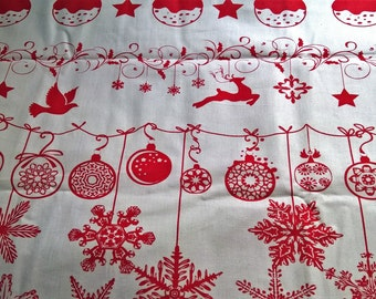 Christmas Red Ornaments & Snowflakes - fat quarter