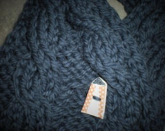 Hand Knitted Pure Wool Chunky Cable Neckwarmer with Porcelain Circus Button Rowan Yarn