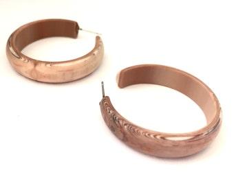 Woody Hoops | Brown Hoop Earrings | Marbled Beige & Brown Matte Lucite Midi Hoops | vintage hoop earrings