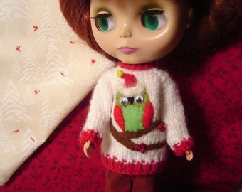 Hooty Owl Ugly Holiday Sweater for Blythe, Pullip and Vintage Skipper
