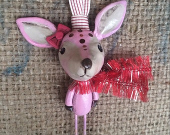 Pink reindeer woodland folk art Christmas ornament Ready to ship with red sparkle scarf