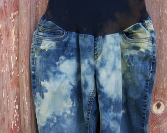 Size L Maternity Bleach Tie Dyed Jeans 44 hip OOAK