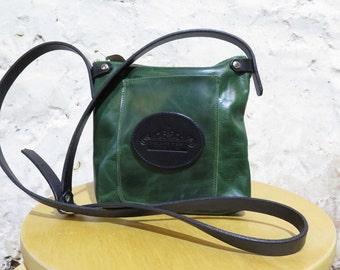 Deep Green Leather Shoulder Bag with Logo Pocket