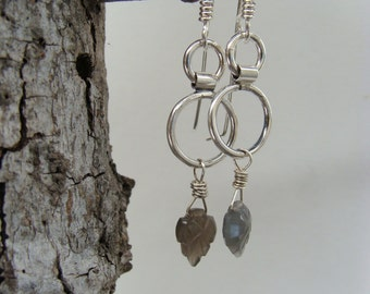 Carved Grey Moonstone Leaf Oxidized Sterling Dangle Earrings